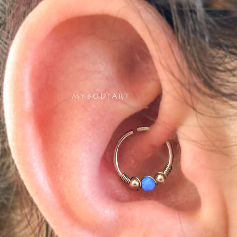 Simple Cute Daith Opal Blue Ear Piercing Jewelry Ideas in Silver 16G -  lindo oreja joyas piercing ideas - www.MyBodiArt.com