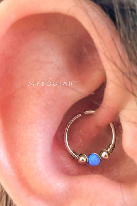 Simple Cute Daith Blue Green Ear Piercing Jewelry Ideas in Silver 16G -  lindo oreja joyas piercing ideas - www.MyBodiArt.com