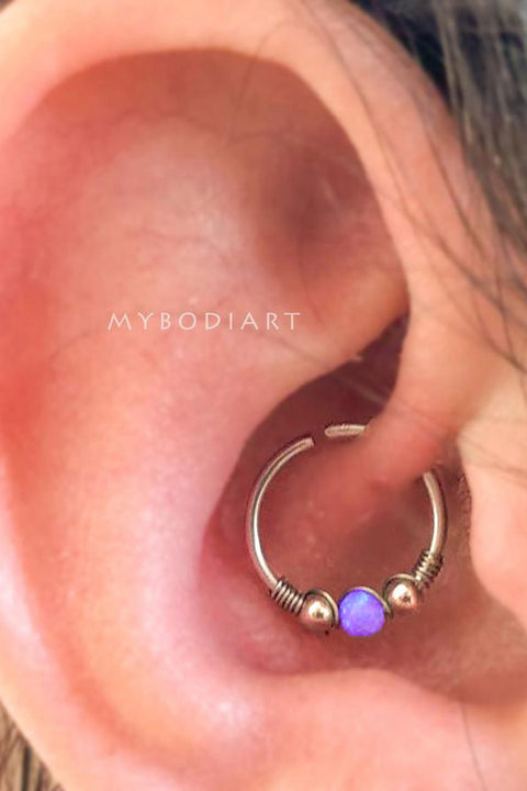 Simple Cute Daith Purple Green Ear Piercing Jewelry Ideas in Silver 16G -  lindo oreja joyas piercing ideas - www.MyBodiArt.com