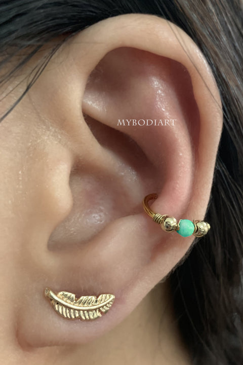 Simple Multiple Gold Ear Piercing Jewelry Ideas - Cute Leaf Feather Earlobe Earring for Cartilage, Tragus, Helix Stud - www.MyBodiArt.com