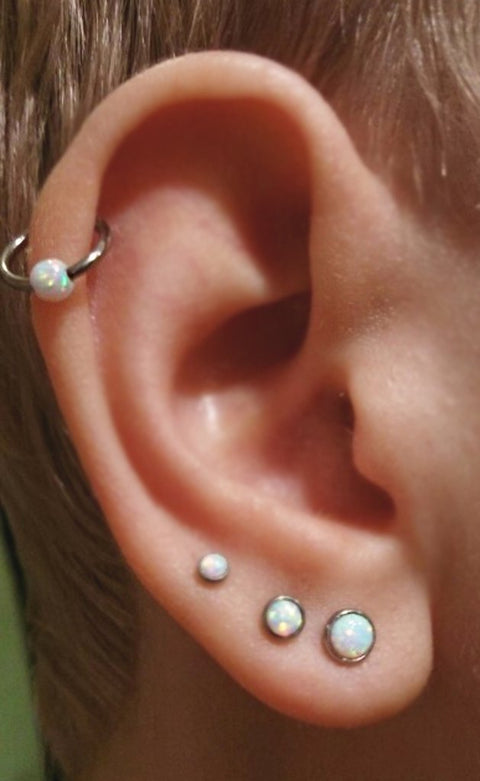 Cute Multiple Ear Piercing Ideas Combinations - Triple Opal Lobe Earring - Cartilage Ring Hoop 16G - MyBodiArt.com
