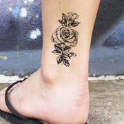 Small Vintage Black Rose Outline Ankle Floral Flower Temporary Tattoo Ideas for Women - Pequeño tatuaje de tobillo rosa para mujer - www.MyBodiArt.com #tattoos