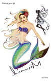 Mermaid Watercolor Temporary Tattoo at MyBodiArt.com