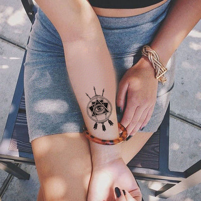 Evil Eye Forearm Temporary Tattoo at MyBodiArt