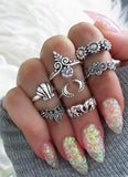 Bohemian Ring Set in Vintage Midi Antiqued Silver - www.MyBodiArt.com