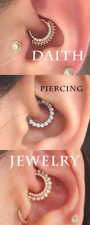 Simple Cute Daith Crystal Ring Hoop Earring 16G -  lindas ideas de joyería para piercing en la oreja - www.MyBodiArt.com #daith