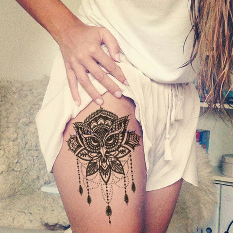 Lotus Thigh Tattoo Ideas - Owl Chandelier Leg Women Tat - MyBodiArt.com