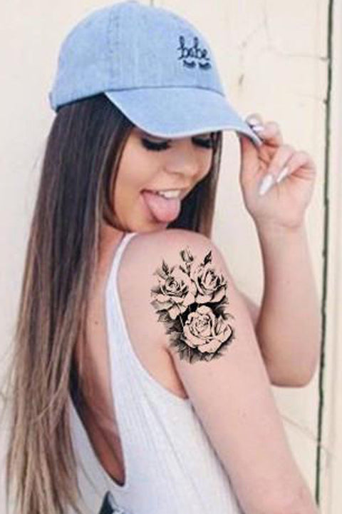 Cute Black Flower Tattoo Ideas for Women - Beautiful Feminine Floral Arm Sleeve Tat - www.MyBodiArt.com #tattoos