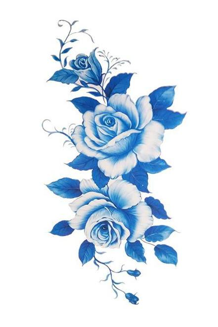 Vintage Blue Watercolor Floral Flower Temporary Tattoo Sheet Design Art Ideas for Women