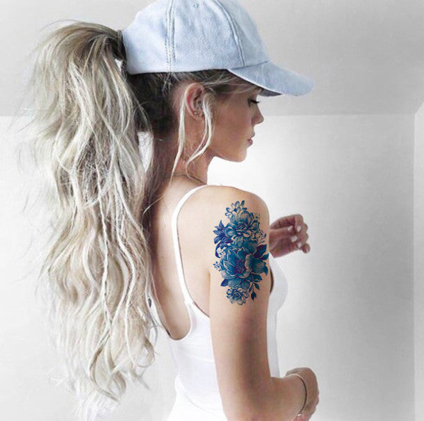 Blue Watercolor Vintage Temporary Tattoo Arm Sleeve