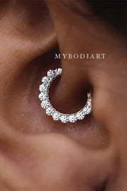 Cute Simple Crystal Daith Ear Piercing Jewelry Earring Ideas for Women -  lindas ideas de joyas con piercing en la oreja de daith para mujeres - www.MyBodiArt.com #earrings