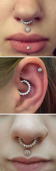 Trending Daith Ear Piercing Ideas Cartilage - Septum Ring Hoop - Labret Medusa Stud - www.MyBodiArt.com