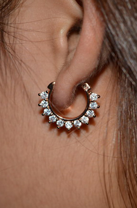 Simple Ear Piercing Ideas - Clicker Earring Lobe Jewelry Jewellery - MyBodiArt.com