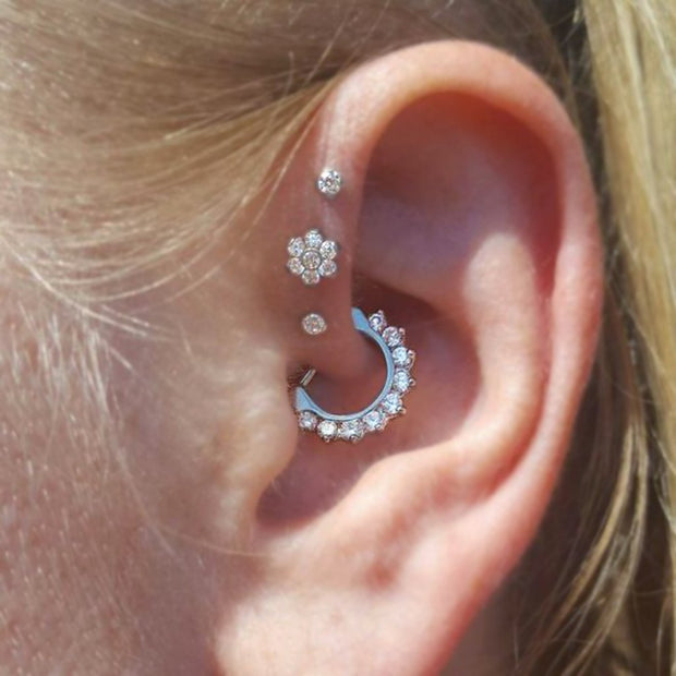 Cute Daith Ear Piercing Ideas Flower Triple Crystal Forward Helix Earring Studs -  lindas ideas para perforar orejas - www.MyBodiArt.com