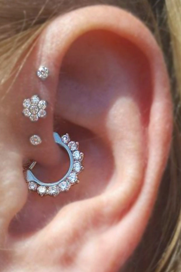 Cute Multiple Ear Piercing Ideas Crystal Daith Clicker  Earring Triple Flower Forward Helix Studs -  lindas ideas para perforar orejas - www.MyBodiArt.com