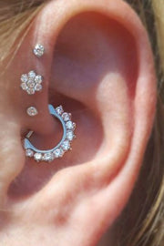 Beautiful Ear Piercing Ideas for Women Flower Crystal Earring Stud for Women -  lindas ideas para perforar orejas - www.MyBodiArt.com