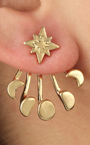 Cute Ear Piercing Ideas - Moon Phases Ear Jacket Earring - Stars Universe Galaxy Crescent in Gold - at MyBodiArt.com