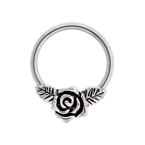 Vintage Rose Captive Bead Ring 16G for Septum Ring, Cartilage Piercing, Helix Hoop at MyBodiArt.com