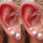 Cute Pearl Ear Piercing Jewelry Ideas for Women Crystal Double Forward Helix Earring Stud - www.MyBodiArt.com