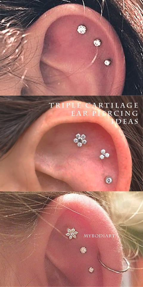 Cute Multiple Cartilage Helix Triple Ear Piercing Jewelry Ideas for Women -  piercing de cartílago - www.MyBodiArt.com #earrings