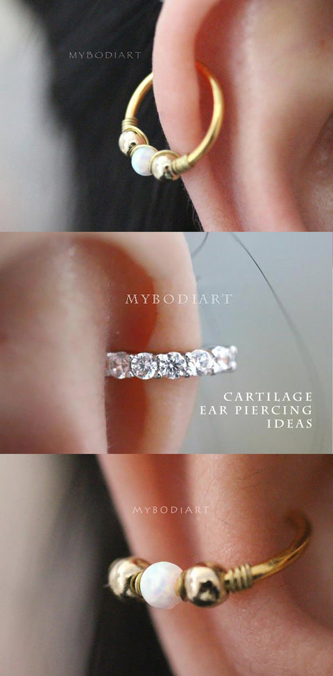 Simple Cartilage Helix Hoop Ear Piercing Jewelry Ideas for Women for Teen Girls -  lindas ideas para perforar orejas para mujeres - www.MyBodiArt.com