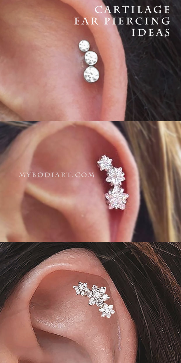 Cartilage Ear Piercing Jewelry Ideas Earring Stud -  ideas de joyería piercing en la oreja - www.MyBodiArt.com #earrings