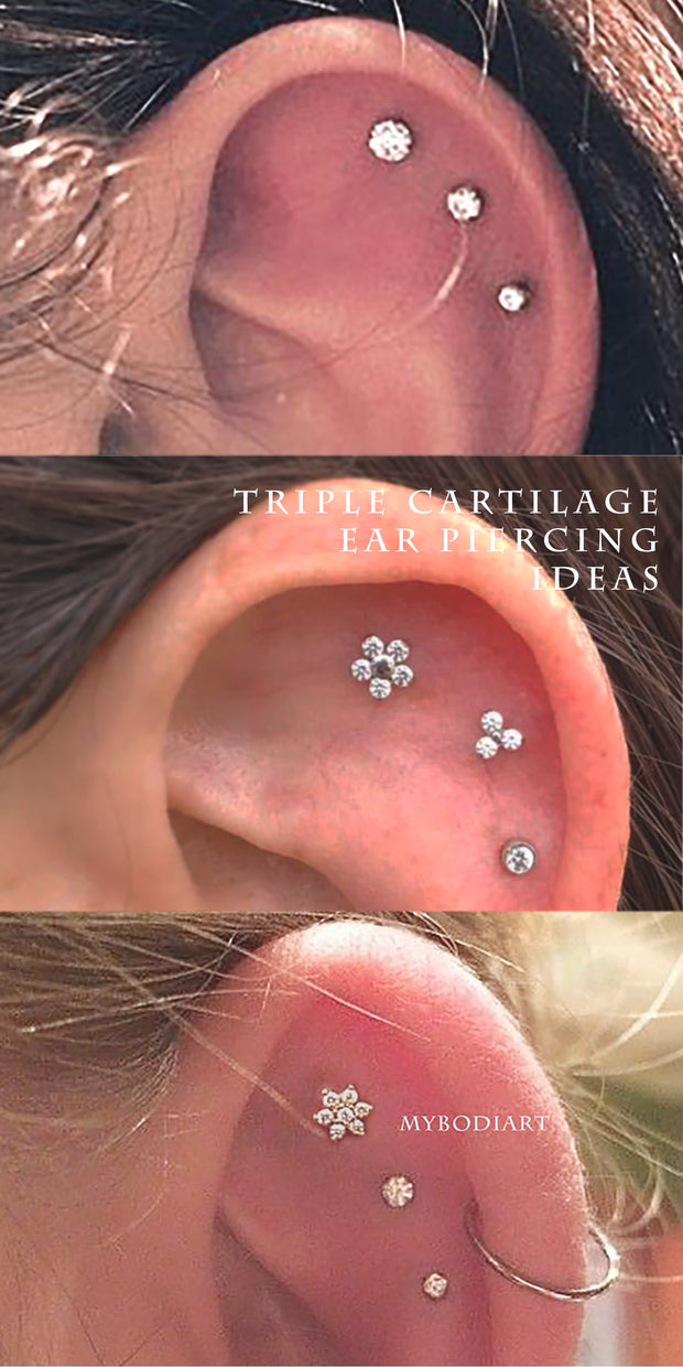 Cute Triple Crystal Cartilage Helix Ear Piercing Jewelry Ideas for Women -  lindas ideas para perforar orejas para mujeres - www.MyBodiArt.com