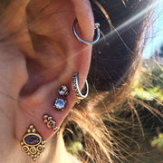 Tribal Ear Piercing Ideas Cartilage Ring Helix Hoop Gold Silver Triple Earring Lobe Studs - www.MyBodiArt.com