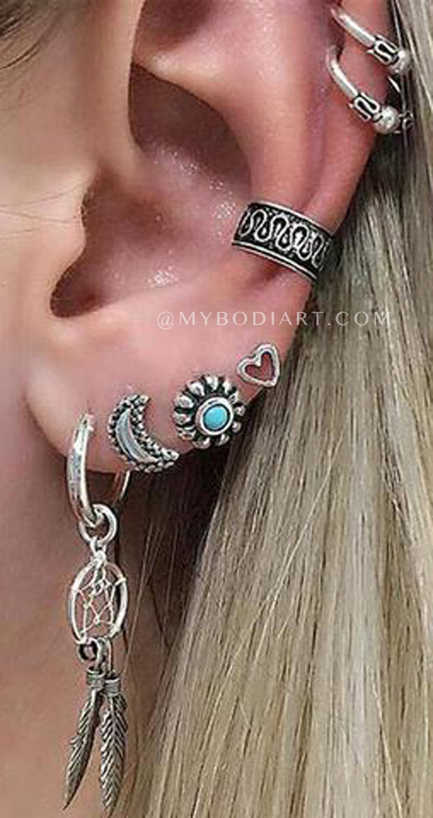 Cute Boho Multiple Ear Piercing Ideas for Teens - Ear Cuff Earrings Turquoise Stud Set -  lindas ideas para perforar orejas para adolescentes Chicas - www.MyBodiArt.com