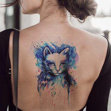 Colorful Cat Temporary Tattoo - MyBodiArt.com