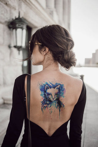 Watercolor Feline Cat Temporary Tattoo - MyBodiArt.com
