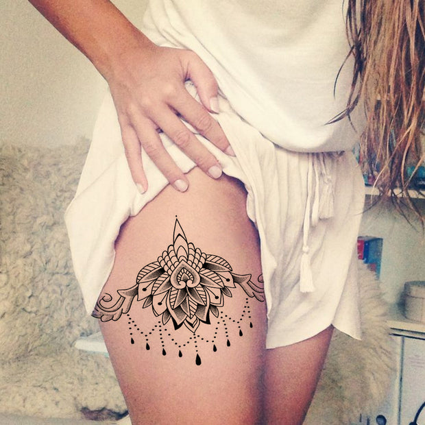 Lotus Thigh Tattoo Placement Ideas at MyBodiArt.com - Celyon Black Lace Chandelier Upper Hip Temporary Tat