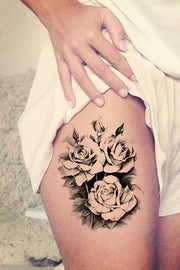 Vintage Black Rose Thigh Tattoo Ideas for Women - Traditional Floral Flower Leg Tat - www.MyBodiArt.com #tattoos