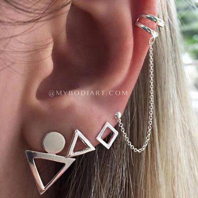 Classy Ear Piercing Ideas Cartilage Helix Ear Cuff Earring Set - lindas ideas para perforar orejas - www.MyBodiArt.com