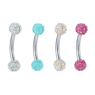 Lola Ferido Crystal Ball 16G Curved Barbell Piercing - Eyebrow Ring, Lip Piercing, Rook Earring, Daith Barbell at MyBodiArt.com