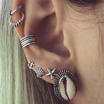 Tribal Multiple Ear Piercing Ideas - Seashell Earring - Starfish Stud - Seashell Jewelry - Ear Cuff for Cartilage Ring or Helix Hoop at MyBodiArt.com