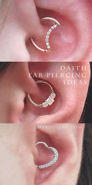 Unique Cute Moon Daith Ear Piercing Jewelry Ideas for Women -  ideas lindas de joyas de piercing en la oreja de luna daith -www.MyBodiArt.com #earrings