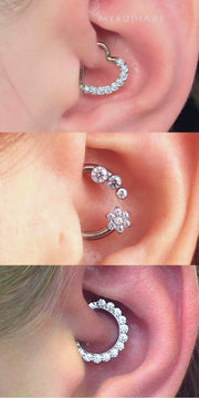 Cute Crystal Daith Ring Hoop Ear Piercing Jewelry Ideas for Women - lindas ideas de joyas para mujeres -  www.MyBodiArt.com #earrings