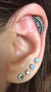 Multiple Cute Ear Piercing Ideas Combination at MyBodiArt.com - Double Opal Lobe Studs - Leaf Helix Cartilage Earring - Starfish and Dolphin Earrings