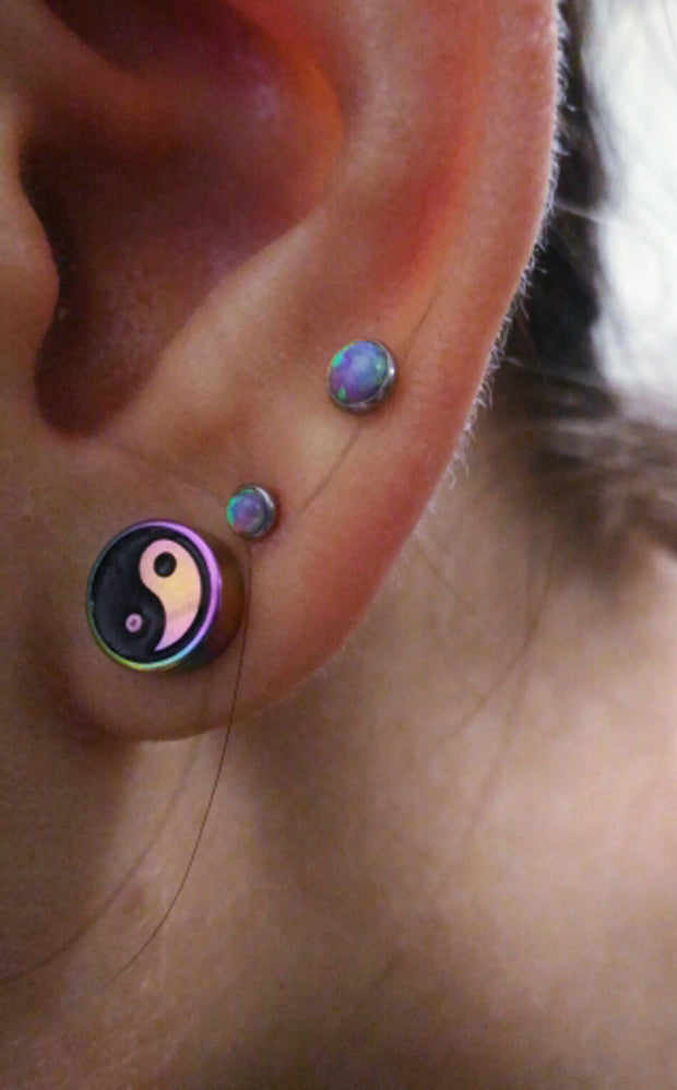 Simple Ear Piercing Ideas at MyBodiArt.com - Purple Lilac Double Opal Earring Studs - Rainbow Ying Yang Jewelry