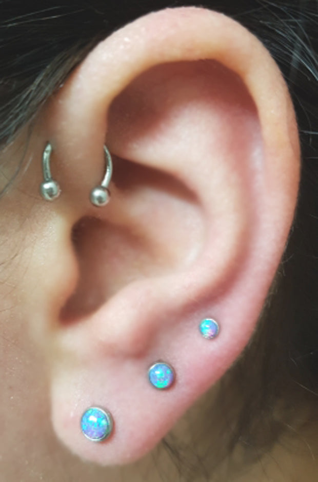 Minimal Small Multiple Ear Piercing Ideas Combinations - Triple Purple Lilac Blue Opal Lobe Earring - Silver Horseshoe Barbell Forward Helix Jewelry Jewellery at MyBodiArt.com