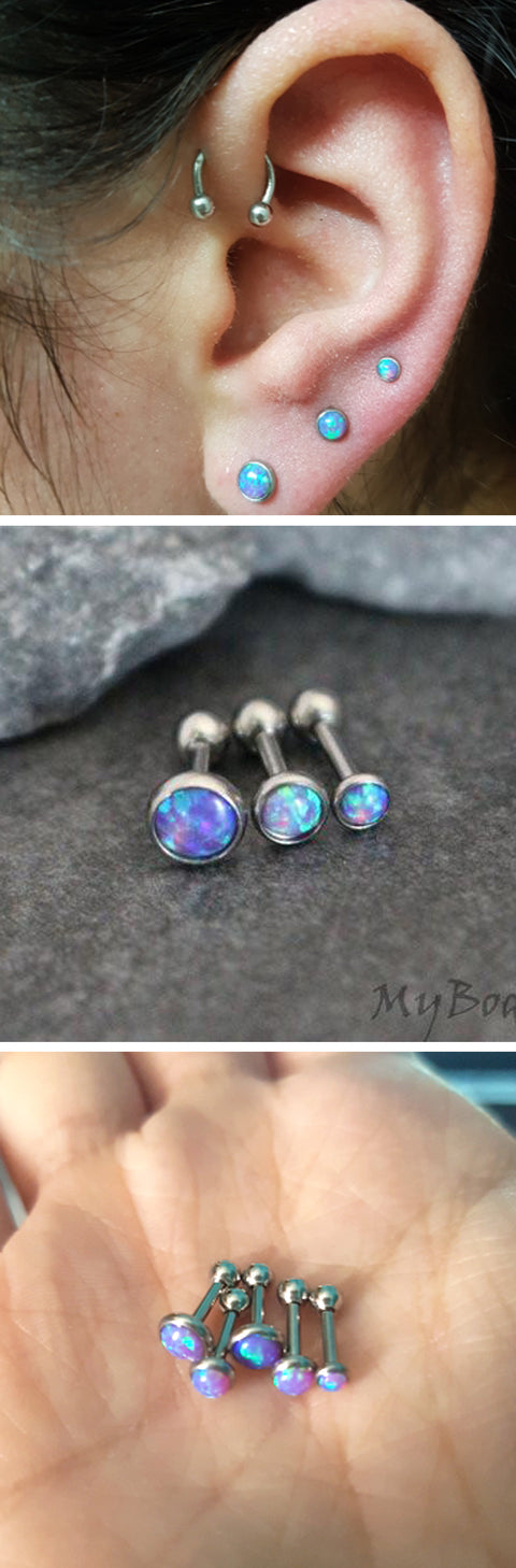 Popular Ear Piercing Ideas Triple Lobe Opal Earring Studs Horseshoe Barbell 16G Forward Helix Ring Hoop - www.MyBodiArt.com - ideas para perforar orejas