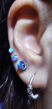Opal Cool Ear Piercing Ideas - Triple Earring Studs Jewelry Ring Hoop - www.MyBodiArt.com