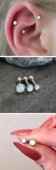Cartilage Ear Piercing Ideas Triple Forward Helix ideas opal earring studs para perforar orejas - mybodiart.com