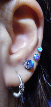 Cute Ear Piercing Ideas - Triple Opal Earring Studs - Silver Ring Hoop - www.MyBodiArt.com