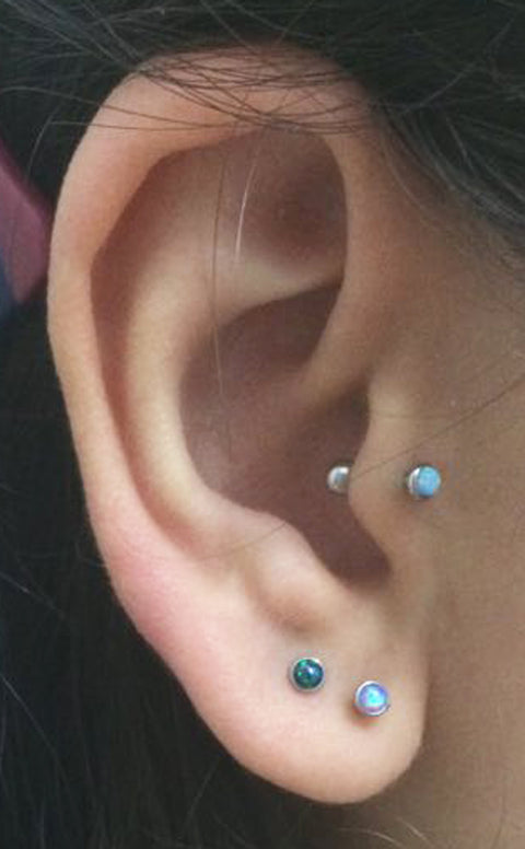 Triple Multiple Ear Piercing Ideas - Opal Tragus Earring Stud - Double Lobe Studs - MyBodiArt.com