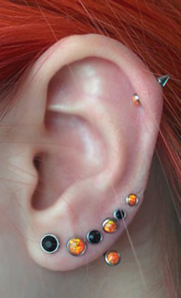 Unique Multiple Ear Piercing Combinations and Ideas at MyBodiArt.com - Triple Double Orange Opal Lobe Earring Studs Cartilage Helix Jewelry