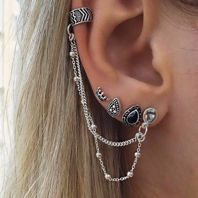 Unique Ear Piercing Ideas at MyBodiArt.com - Arrowhead Chevron Ear Cuff Earring in Antiqued Silver - Crown, Black Jewel, Tribal, Medieval Earrings Set