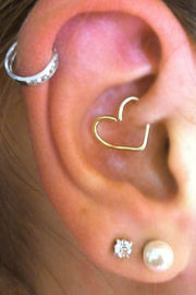 Cute Ear Piercing Ideas - Gold Heart Daith Earring at MyBodiArt.com - Thick Silver Crystal Hoop Cartilage Pinna Helix Ring 16G
