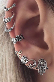 Antiqued Silver Boho Ear Piercing Ideas at MyBodiArt.com - Flower Ear Cuff - Moon Earring - Sun Stud